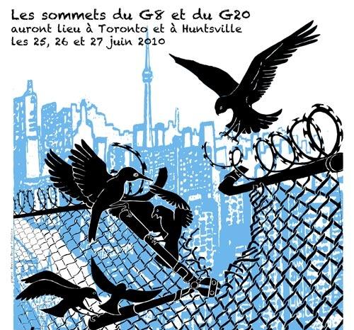 Très beau dessin: des oiseaux s'unissent pour couper une cloture de métal, sur fonds bleauté de la ville de Toronto.