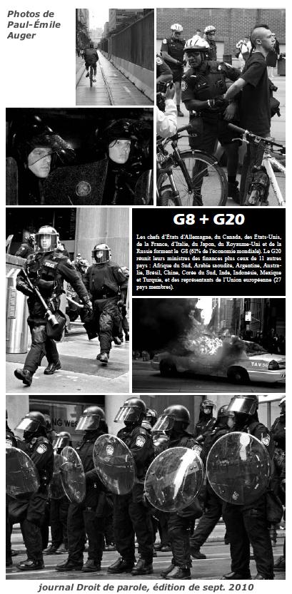 mini-version de montage-photos: 6 photos des forces antiémeutes et policières, d'une arrestation et d'une autopatrouille en feu