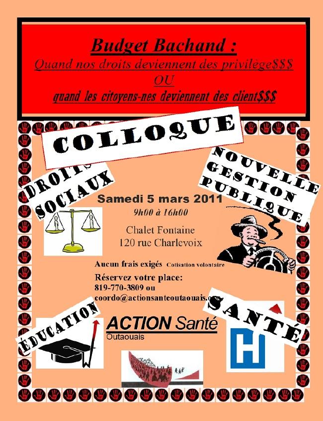 affiche: nombreuses petites images de justice ou du jeu Monopoly, entouré de la Main rouge symbole de la Coalition natioanale. Info: 819-770-3809 ou coordo[arobas]actionsanteoutaouais.org