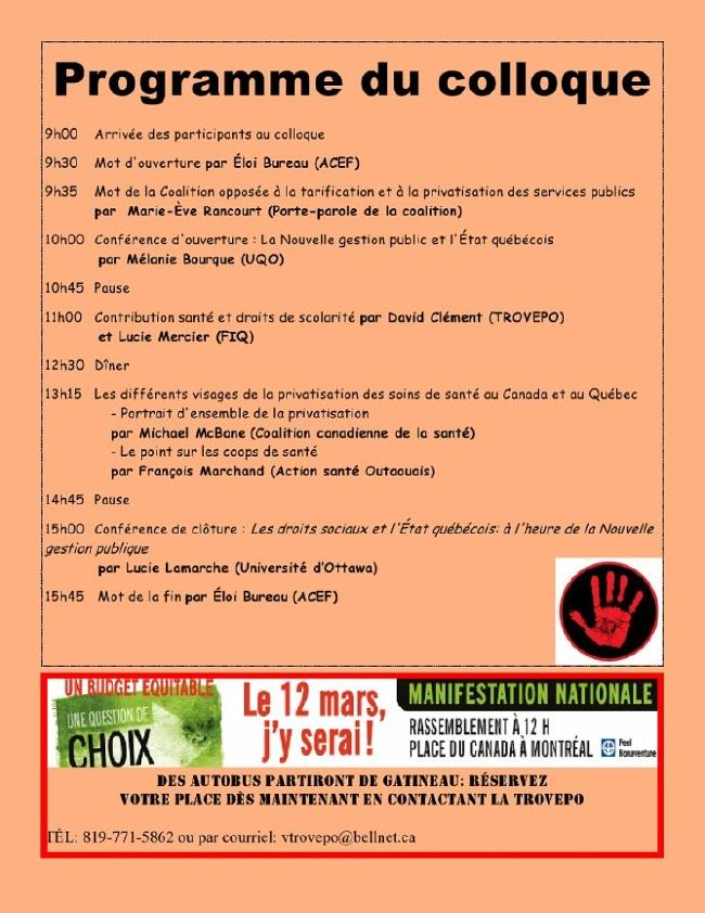 Autre affiche résumant le programme: Info: 819-770-3809 ou coordo[arobas]actionsanteoutaouais.org