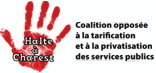 [ logo : Main rouge - à l'intérieur les mots: Halte à Charest ! - à droite le nom de la coalition ]