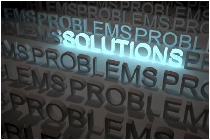 image showing the words problems all over the place, but the word solution is highlighted amongst the midst...