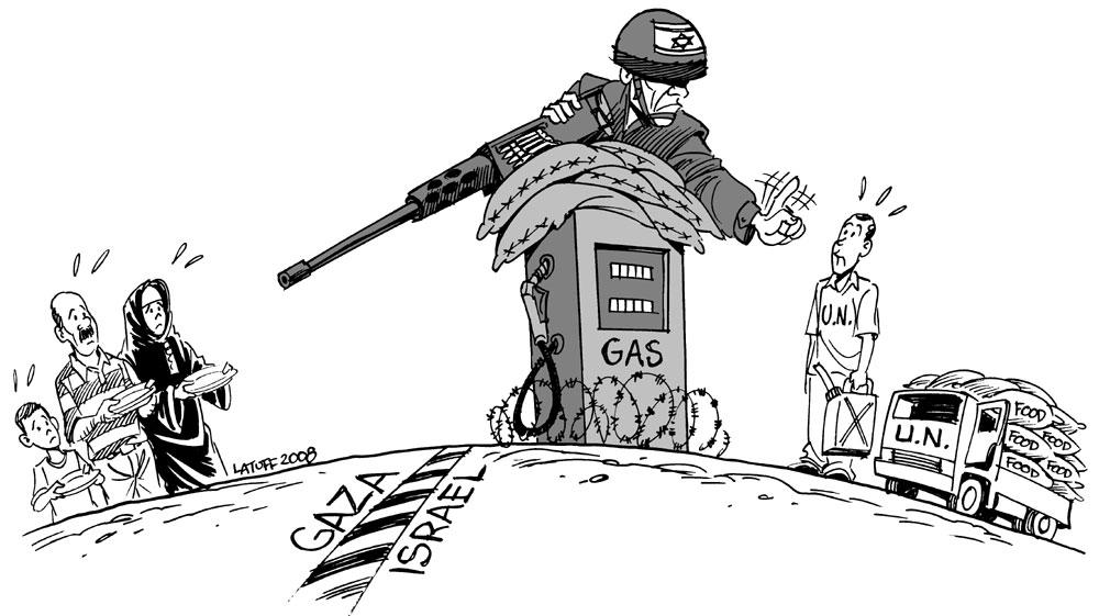 Cartoon: un soldat sur une pompe à essence s'interpose entre un convoi onusien et une famille soldier - A soldier on a gas station keeps a UN convoy away from a family.